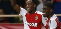 Monaco's French forward Anthony Martial (L) celebrates after scoring the 3-0 with Monaco's Portuguese forward  Ivan Cavaleiro (R) during the UEFA Champions League third qualifying round second leg football match between AS Monaco vs BSC Young Boys on August 4, 2015 at the Louis II Stadium in Monaco. AFP PHOTO / VALERY HACHE        (Photo credit should read VALERY HACHE/AFP/Getty Images)